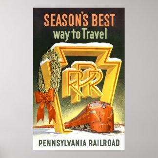 Season s Best Way To Travel Pennsylvania Railroad Print