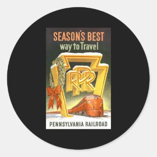 Season s Best Way To Travel Pennsylvania Railroad Round Sticker