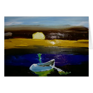 """Season's Greeting Card, """"Wet Moon Plunged in Paint Card"""
