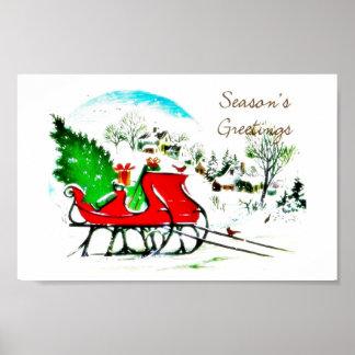 Season s greetings christmas tree put on a cart poster