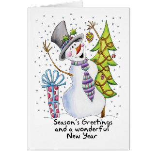 Season s Greetings Cute Snowman Card