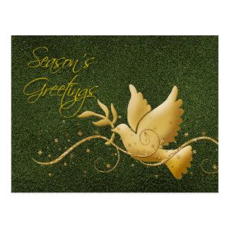 Season s greetings dove peace gold Christmas greet Postcards