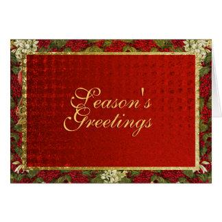 Season s Greetings elegant Christmas red gold Cards