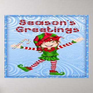 Season s Greetings Elf Poster Print