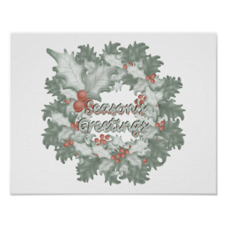 Season s Greetings holly wreath Poster