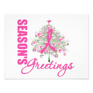 Season s Greetings Pink Ribbon Tree Personalized Announcement