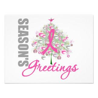 Season s Greetings Pink Ribbon Tree Custom Invite