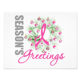 Season s Greetings Pink Ribbon Wreath Personalized Invitations