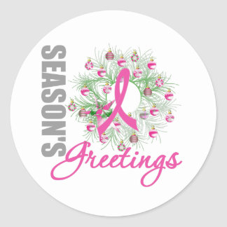 Season s Greetings Pink Ribbon Wreath Stickers