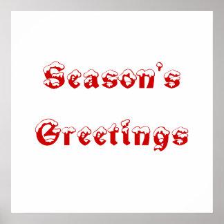 Season s Greetings Red and White Custom Print