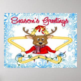 Season s Greetings Reindeer Poster Print