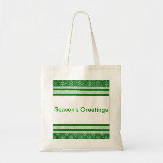 Season s Greetings Snowflakes Canvas Bags