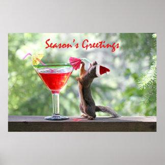 Season s Greetings Squirrel Poster
