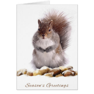 Season s Greetings Squirrel With Winter Nut Store Card
