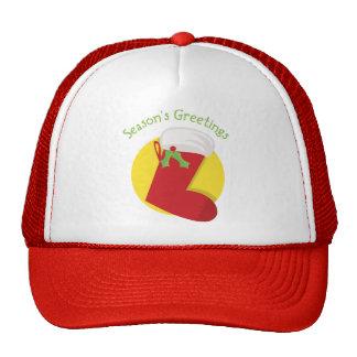 Season s Greetings Xmas Stocking Trucker Hats