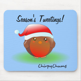Season s tweetings Christmas Robin Mousepads