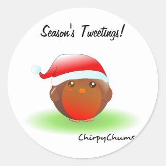 Season s tweetings Christmas Robin Stickers