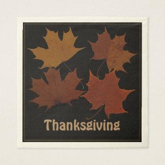 Seasonal 4 Autumn Leaves Thanksgiving Custom Text Disposable Serviettes