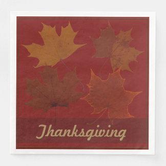 Seasonal 4 Autumn Leaves Thanksgiving Custom Text Paper Napkin
