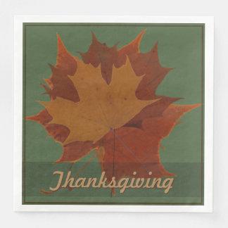Seasonal Autumn Leaves Thanksgiving Custom Text Disposable Napkins