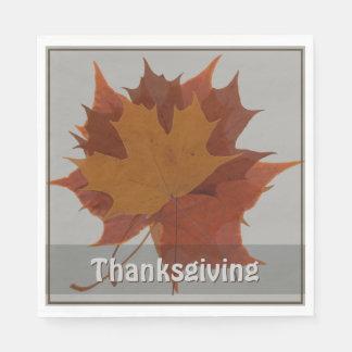 Seasonal Autumn Leaves Thanksgiving Custom Text Disposable Serviettes