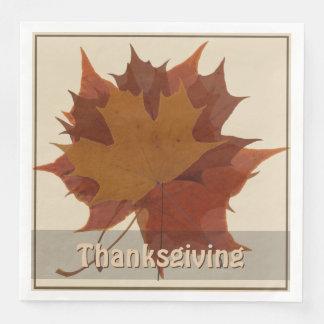 Seasonal Autumn Leaves Thanksgiving Paper Serviettes