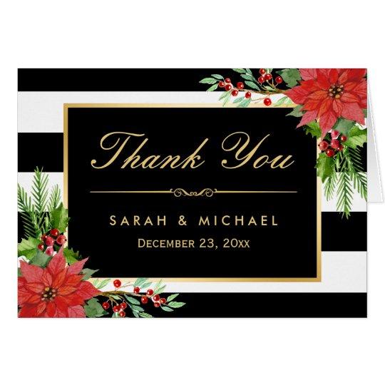 Seasonal Poinsettia Floral B&W Stripes Thank You Card