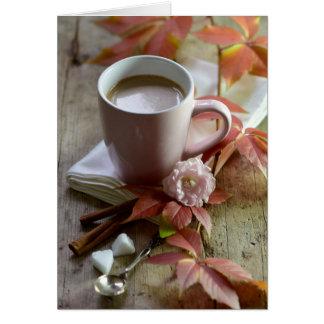 Seasonal rustic autmn cocoa & leaves still life card