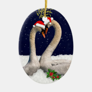 Seasonal Swans Christmas Ornament
