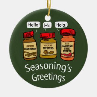 Seasoning's Greetings Funny Holiday Pun Christmas Ornament