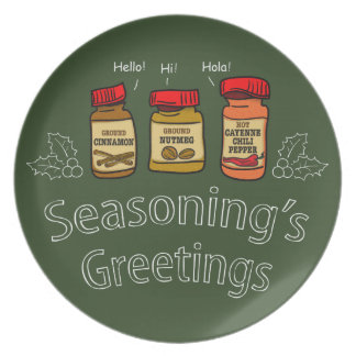 Seasoning's Greetings Funny Holiday Pun Plate