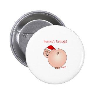 Season's Eatings Pig! 6 Cm Round Badge