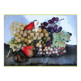 SEASON'S FRUITS 1 - GRAPES AND PEARS 13 CM X 18 CM INVITATION CARD