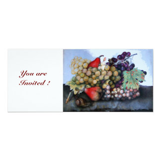 SEASON'S FRUITS 1 - GRAPES AND PEARS 10 CM X 24 CM INVITATION CARD