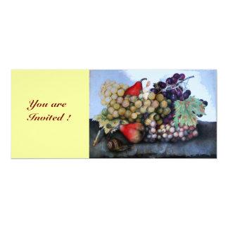 "SEASON'S FRUITS 1 - GRAPES AND PEARS 4"" X 9.25"" INVITATION CARD"