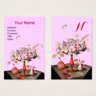 SEASON'S FRUITS FLOWERS,LEAVES MONOGRAM Pink Lilac Business Card