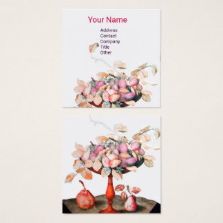 SEASON'S FRUITS,FLOWERS,LEAVES PRUNES Pink White Square Business Card