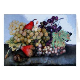 SEASON'S FRUITS / GRAPES AND PEARS GREETING CARD