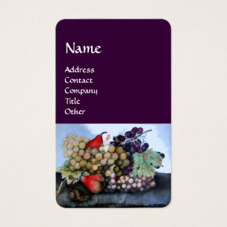 SEASON'S FRUITS,GRAPES AND PEARS Still Life Purple Business Card