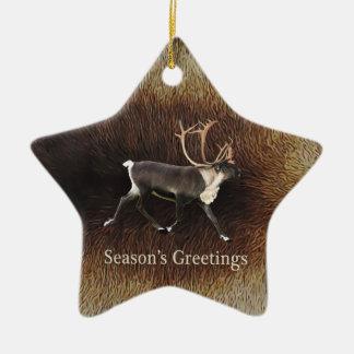 Season's Greeting - Bull Caribou (Reindeer) Ceramic Star Decoration