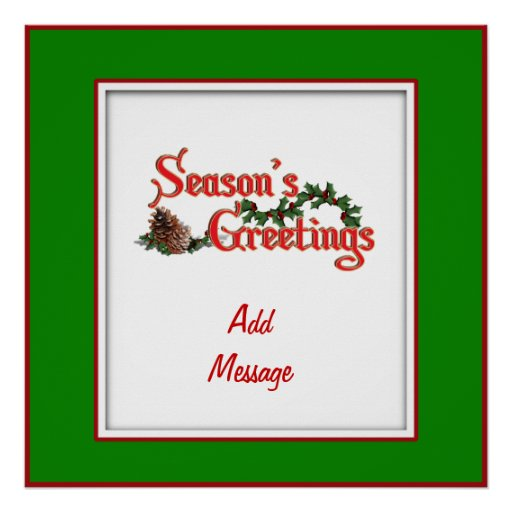 Season's Greeting Text Design, with Pine Cones Poster