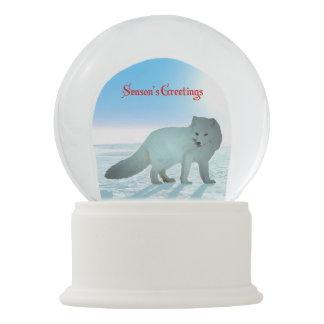 Season's Greetings - Arctic Fox Snow Globe