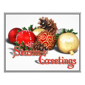 Seasons Greetings - Baubles & Pine Cones Custom Flyer