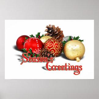 Seasons Greetings - Baubles & Pine Cones Poster