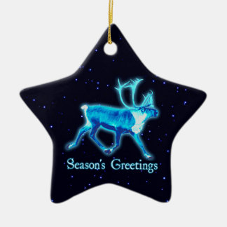 Season's Greetings - Blue Caribou (Reindeer) Ceramic Star Decoration