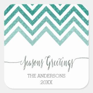 Seasons Greetings blue chevron Stickers