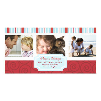 Seasons Greetings Blue & Red Holiday Photo Collage Card