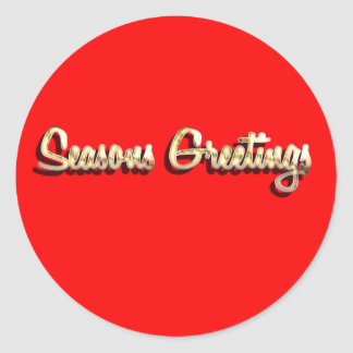 Seasons Greetings bright red faux gold typography Classic Round Sticker