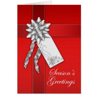 Season's Greetings Card - Red Gift Package - Chris