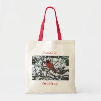 Seasons Greetings Cardinal Tote Canvas Bag